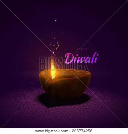 Happy Diwali. Indian festival of lights and fire. Vector hindu holiday illustration of wood oil lamp diya with flame and sparkles and traditional mandala tracery pattern. Deepavali religion event.