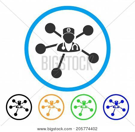 Doctor Relations rounded icon. Style is a flat doctor relations grey symbol inside light blue circle with black, yellow, green, blue variants. Vector designed for web and software interfaces.