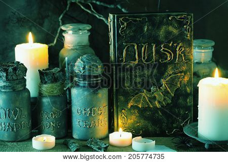 witch apothecary jars magic potions book halloween decoration