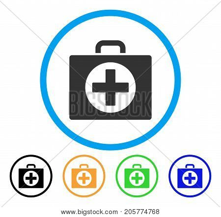 First Aid rounded icon. Style is a flat first aid gray symbol inside light blue circle with black, yellow, green, blue versions. Vector designed for web and software interfaces.