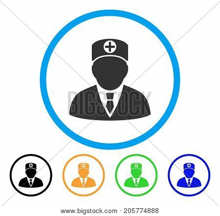 Head Physician rounded icon. Style is a flat head physician gray symbol inside light blue circle with black, yellow, green, blue variants. Vector designed for web and software interfaces.