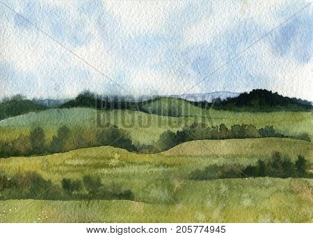watercolor field landscape with blie sky, green grass and trees