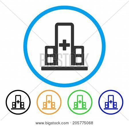 Hospital Complex rounded icon. Style is a flat hospital complex gray symbol inside light blue circle with black, yellow, green, blue versions. Vector designed for web and software interfaces.