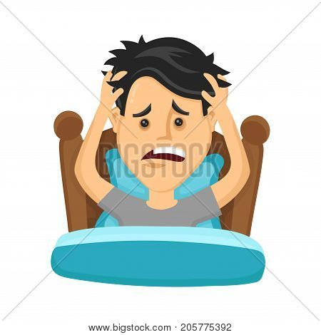 Young man suffers from lack of sleep. Vector flat modern style illustration character icon design. Isolated on white background.  Healthy care, bad sleep, body balance, insomnia concept