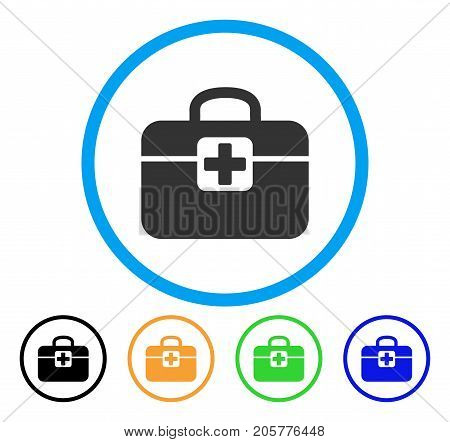 Medkit rounded icon. Style is a flat medkit gray symbol inside light blue circle with black, yellow, green, blue variants. Vector designed for web and software interfaces.
