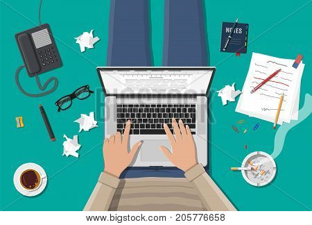Freelance writer or journalist workplace. Laptop pc, draft, mouse. Paper sheets with text, pen, pencil. Ashtray, cigarette, coffee cup. Eyeglasses phone Vector illustration in flat style