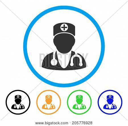 Physician rounded icon. Style is a flat physician gray symbol inside light blue circle with black, yellow, green, blue versions. Vector designed for web and software interfaces.