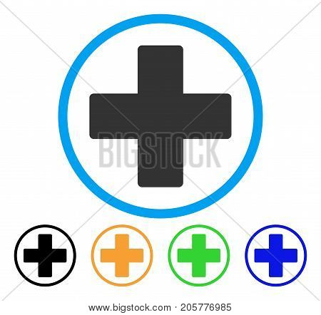 Plus rounded icon. Style is a flat plus grey symbol inside light blue circle with black, yellow, green, blue variants. Vector designed for web and software interfaces.