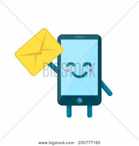 Your smartphone friend have a message for you. Vector flat illustration icon cartoon phone character. Isolated on white background. Message letter send on mobile phone. Sms, email concept
