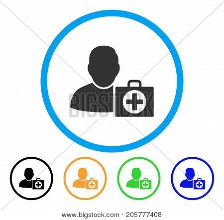 User First Aid rounded icon. Style is a flat user first aid gray symbol inside light blue circle with black, yellow, green, blue versions. Vector designed for web and software interfaces.