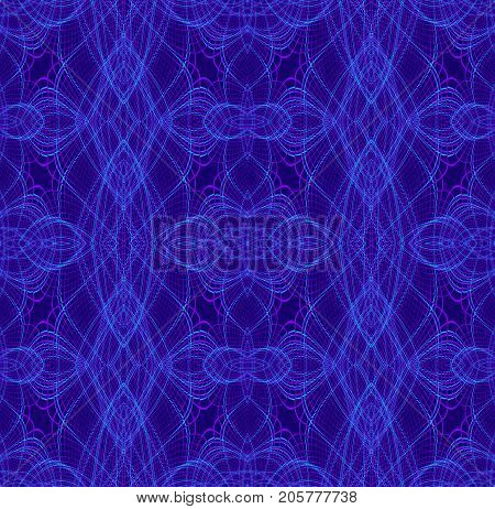 Abstract geometric seamless background. Regular ellipses and diamond pattern with dark blue and turquoise outlines on purple, ornate and extensive.