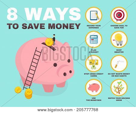8 way to save money infographic. pig money box Isometry character. vector flat cartoon illustration icon design. no credit, money, bankrupt, bank. concept, saving finance money, plan, budget