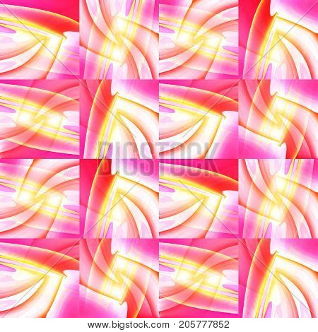Abstract geometric background. Intricate squares pattern yellow, orange, pink, red and violet shifted.