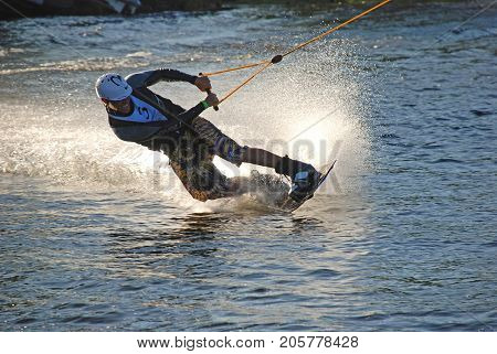 Kiev,Ukraine,  AUGUST  20, 20009: Sportsmen-wakeboarder at the championship of Ukraine on wakeboarding in the city of Kiev