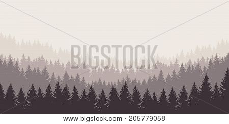 Panoramatic vector illustration of a forest under a overcast gray sky layered