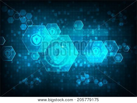 Cyber security concept: Shield With Keyhole icon on hexagon digital data background. Illustrates cyber data security or information privacy idea. Blue abstract hi speed internet technology