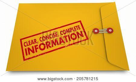 Clear Concise Complete Information Documents Envelope 3d Illustration