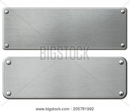 metal plates set with rivets isolated 3d illustration with clipping paths included