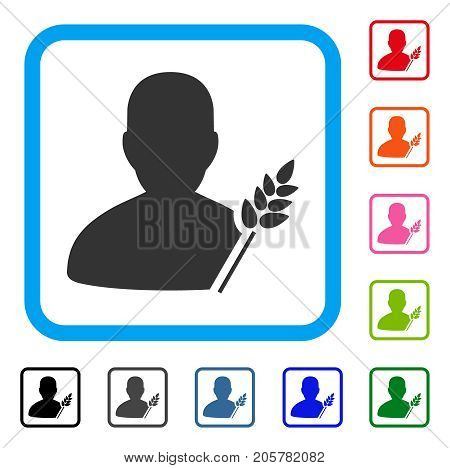Agriculture Farmer icon. Flat iconic symbol inside a rounded rectangle. Black, gray, green, blue, red, orange color additional versions of Agriculture Farmer vector.