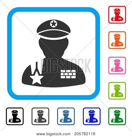 Army General icon. Flat pictogram symbol inside a rounded squared frame. Black, gray, green, blue, red, orange color versions of Army General vector. Designed for web and app UI.