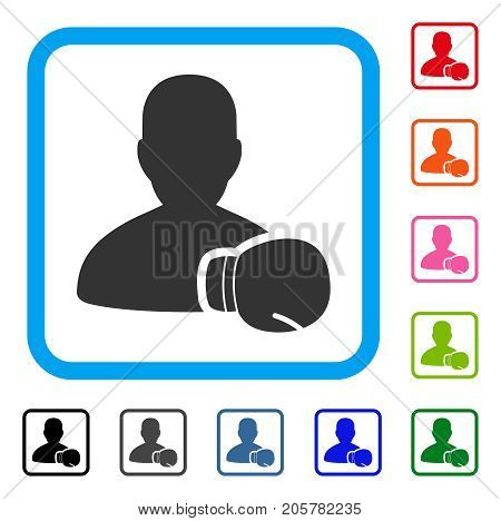 Boxing Sportsman icon. Flat iconic symbol inside a rounded rectangle. Black, gray, green, blue, red, orange color versions of Boxing Sportsman vector. Designed for web and app UI.