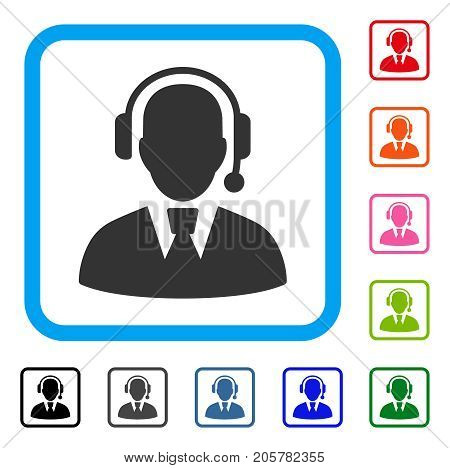 Call Center Manager icon. Flat iconic symbol in a rounded squared frame. Black, gray, green, blue, red, orange color versions of Call Center Manager vector. Designed for web and app interfaces.