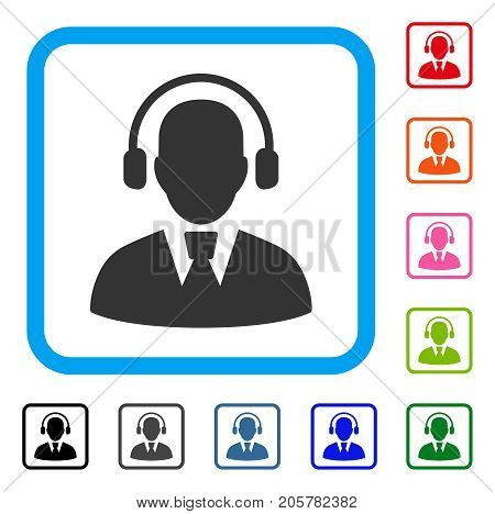 Call Center Operator icon. Flat iconic symbol in a rounded squared frame. Black, gray, green, blue, red, orange color additional versions of Call Center Operator vector. Designed for web and app UI.
