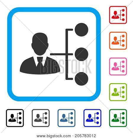 Distribution Manager icon. Flat pictogram symbol in a rounded square. Black, gray, green, blue, red, orange color versions of Distribution Manager vector. Designed for web and app user interface.