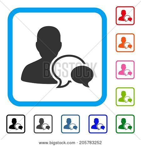 Forum Moderator icon. Flat iconic symbol in a rounded square. Black, gray, green, blue, red, orange color versions of Forum Moderator vector. Designed for web and application user interface.