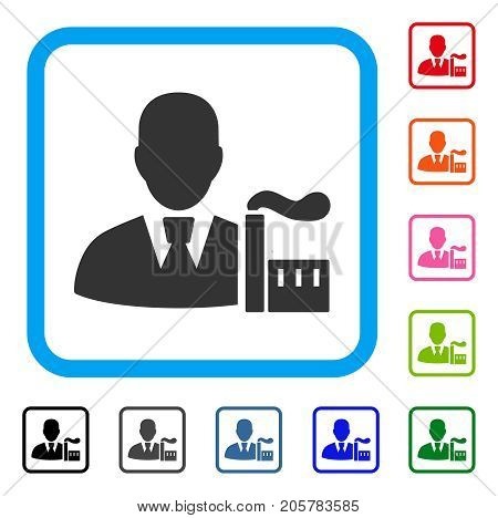 Industry Capitalist icon. Flat pictogram symbol in a rounded square. Black, gray, green, blue, red, orange color variants of Industry Capitalist vector. Designed for web and application UI.