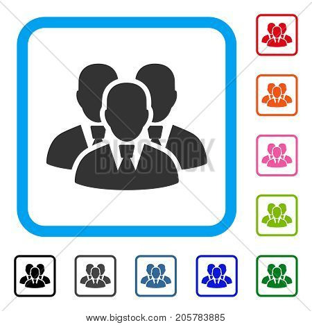 Manager Group icon. Flat pictogram symbol inside a rounded rectangular frame. Black, gray, green, blue, red, orange color additional versions of Manager Group vector.