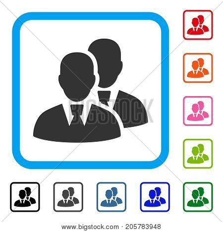 Managers icon. Flat iconic symbol inside a rounded rectangular frame. Black, gray, green, blue, red, orange color versions of Managers vector. Designed for web and app interfaces.