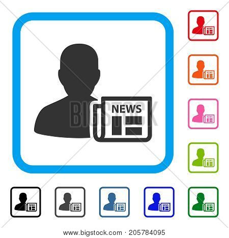 Newsmaker Newspaper icon. Flat iconic symbol inside a rounded frame. Black, gray, green, blue, red, orange color versions of Newsmaker Newspaper vector. Designed for web and application interfaces.