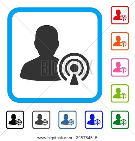 Podcast Creator icon. Flat iconic symbol inside a rounded rectangle. Black, gray, green, blue, red, orange color versions of Podcast Creator vector. Designed for web and software user interface.