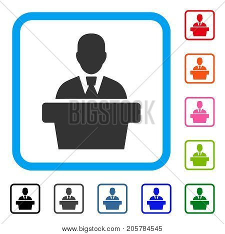 Politician icon. Flat pictogram symbol in a rounded rectangular frame. Black, gray, green, blue, red, orange color variants of Politician vector. Designed for web and software user interface.