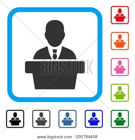 Politician icon. Flat iconic symbol inside a rounded frame. Black, gray, green, blue, red, orange color variants of Politician vector. Designed for web and application interfaces.