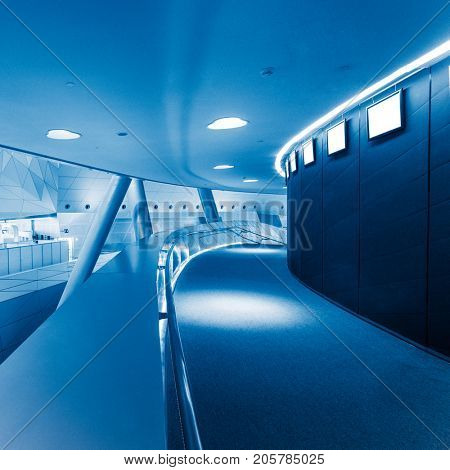modern building hallway with corridor,blue toned,china.