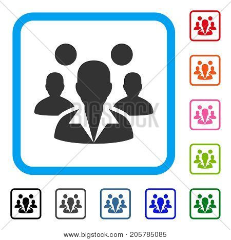 Staff icon. Flat iconic symbol inside a rounded rectangular frame. Black, gray, green, blue, red, orange color additional versions of Staff vector. Designed for web and app UI.
