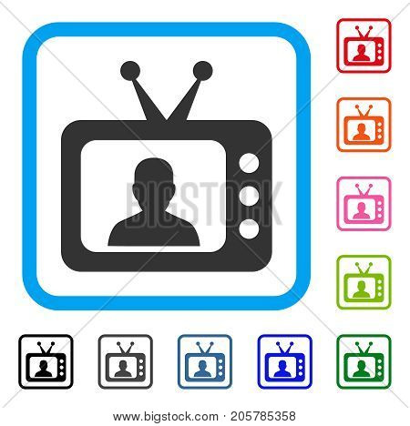 TV Speaker icon. Flat pictogram symbol inside a rounded rectangle. Black, gray, green, blue, red, orange color additional versions of TV Speaker vector. Designed for web and app interfaces.