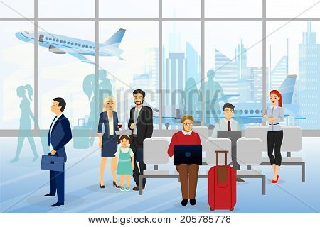 Vector illustration of men and wemen, children in airport, business people sitting and walking in airport terminal, business travel concept with plane on background. Flat style design