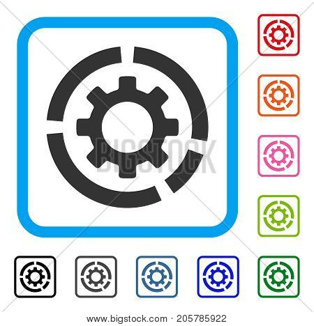 Circle Diagram Configuration Gear icon. Flat gray iconic symbol in a light blue rounded frame. Black, gray, green, blue, red, orange color variants of Circle Diagram Configuration Gear vector.