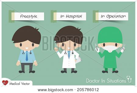 Doctor In Situations . ( Freestyle , In Hospital And Operating Room ) . Vector