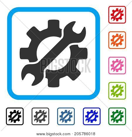 Configure Wrench And Gear icon. Flat gray pictogram symbol inside a light blue rounded squared frame. Black, gray, green, blue, red, orange color variants of Configure Wrench And Gear vector.