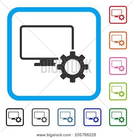 Desktop Options Gear icon. Flat gray iconic symbol inside a light blue rounded squared frame. Black, gray, green, blue, red, orange color variants of Desktop Options Gear vector.