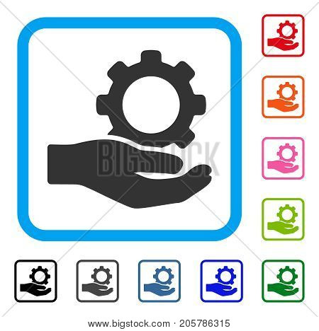 Engineering Service Gear Hand icon. Flat grey iconic symbol inside a light blue rounded rectangle. Black, gray, green, blue, red, orange color versions of Engineering Service Gear Hand vector.