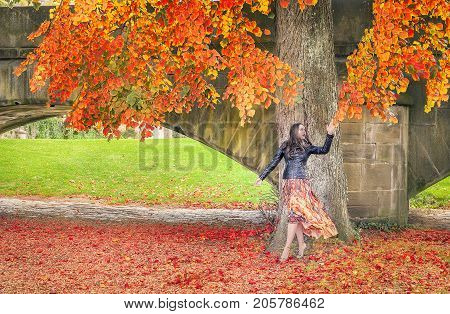 Beautiful young woman dressed in a modern dress and a black jacket walks under a tree reaching the leaves and enjoying the fall colors and atmosphere.