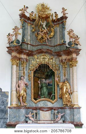 LEPOGLAVA, CROATIA - MARCH 17: The altar of St. Paul the hermit in the church of Immaculate Conception in Lepoglava, Croatia on March 17, 2017.