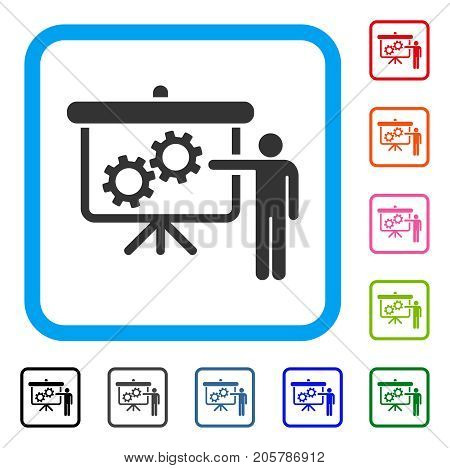 Gears Presentation Lecture icon. Flat gray pictogram symbol inside a light blue rounded rectangular frame. Black, gray, green, blue, red, orange color versions of Gears Presentation Lecture vector.