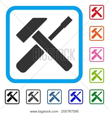 Hammer Screwdriver icon. Flat gray iconic symbol in a light blue rounded rectangle. Black, gray, green, blue, red, orange color additional versions of Hammer Screwdriver vector.