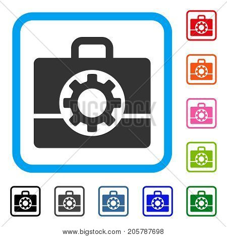 Mechanics Case icon. Flat gray pictogram symbol inside a light blue rounded rectangular frame. Black, gray, green, blue, red, orange color versions of Mechanics Case vector.